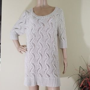 Elle Cream Cable Knit Women's Crewneck Mini Dress